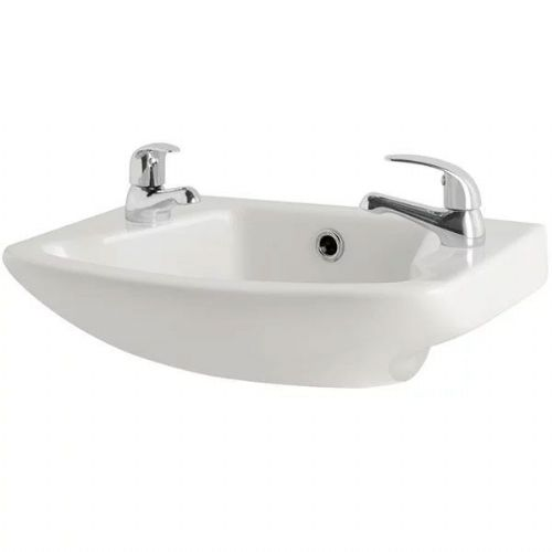 Kartell G4K Cloakroom Basin - 465mm Wide - 2 Tap Hole - White